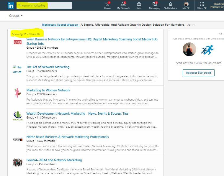 LinkedIn  Network Marketing Groups