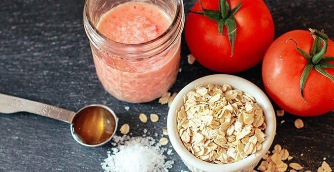 tomato, oats, lemon face mask