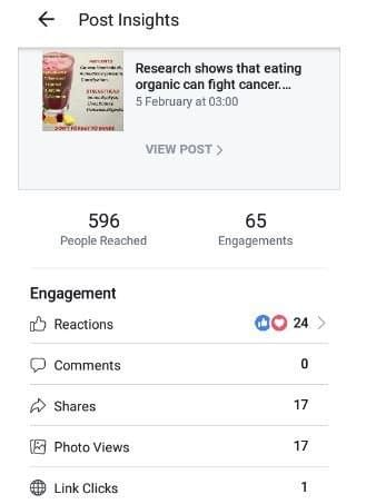 Engagement onf Facebook post on Business page