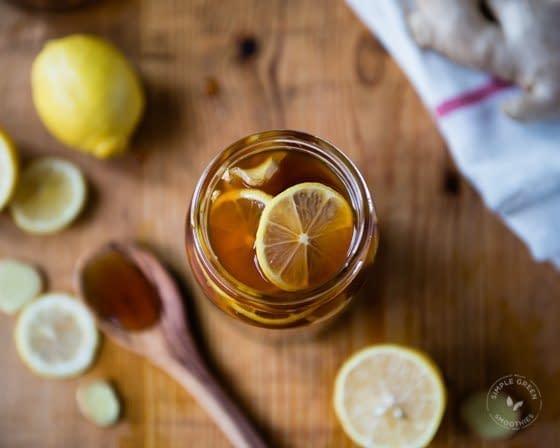 mason jar with honey and lemon