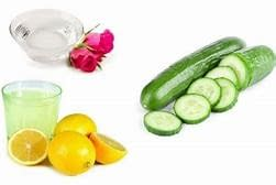 cucumber, rose water and lemon face mask